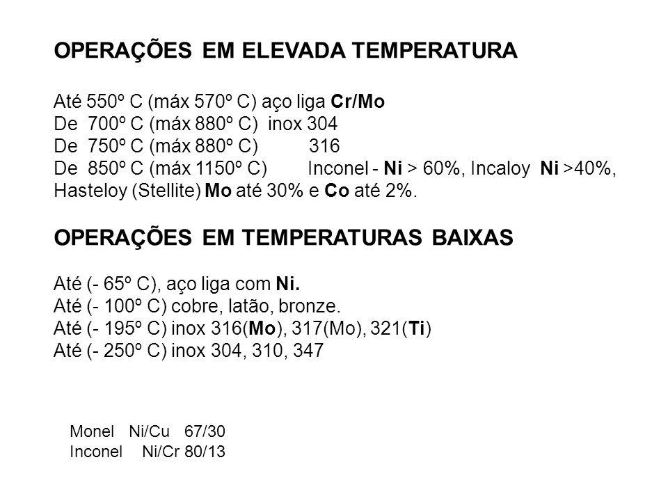 OPERAÇÕES EM ELEVADA TEMPERATURA Até 550º C (máx 570º C) aço liga Cr/Mo De 700º C (máx 880º C) inox 304 De 750º C (máx 880º C) 316 De 850º C (máx 1150