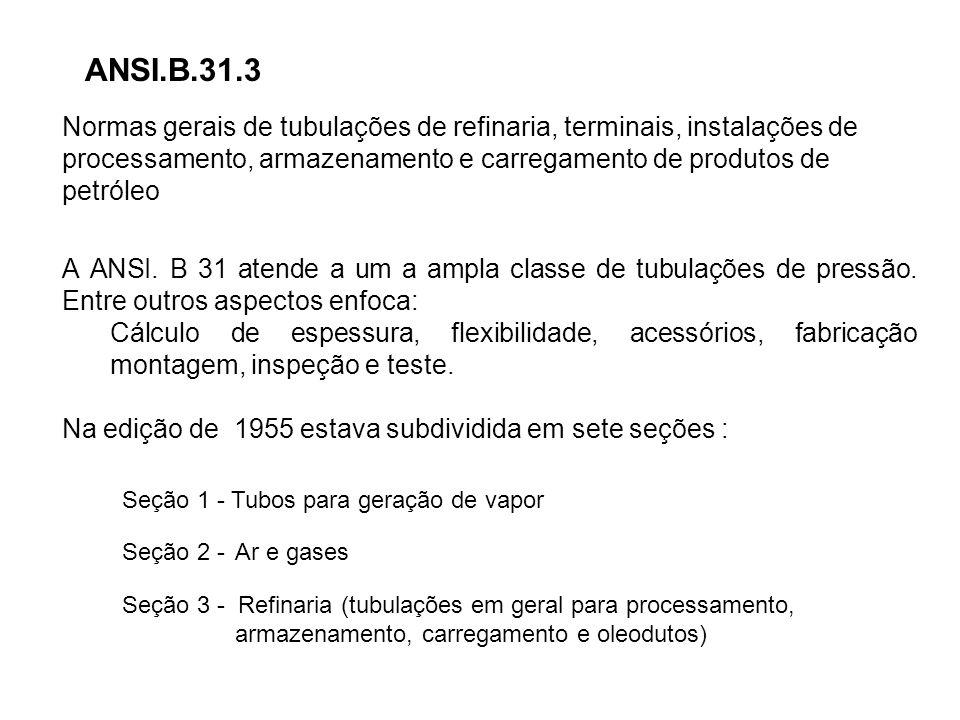 ANSI.B.31.3 Normas gerais de tubulações de refinaria, terminais, instalações de processamento, armazenamento e carregamento de produtos de petróleo A