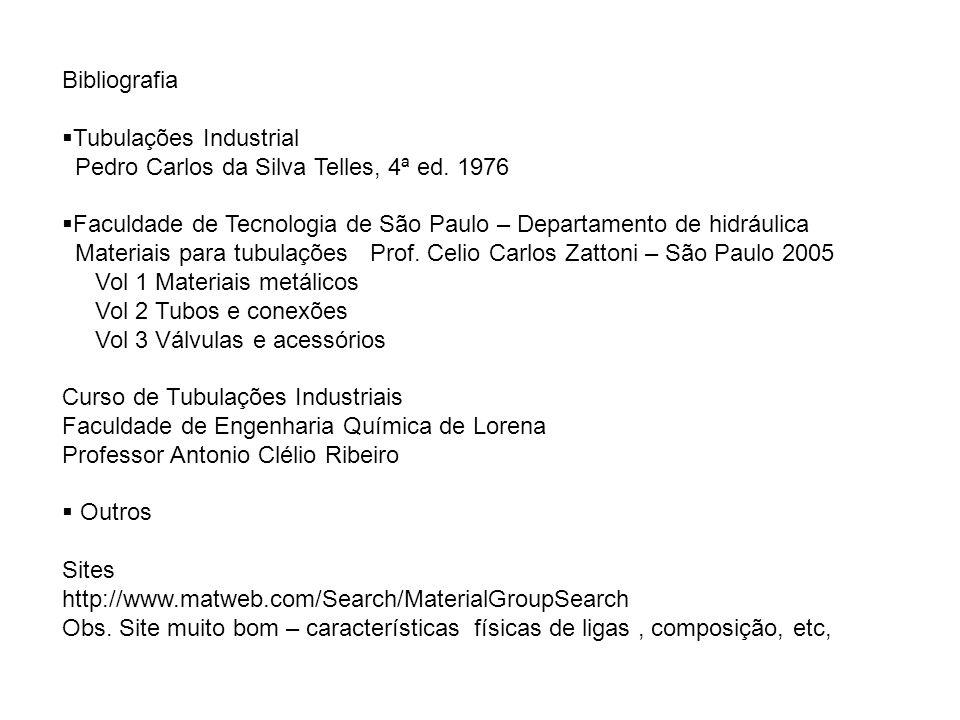 Bibliografia Tubulações Industrial Pedro Carlos da Silva Telles, 4ª ed. 1976 Faculdade de Tecnologia de São Paulo – Departamento de hidráulica Materia