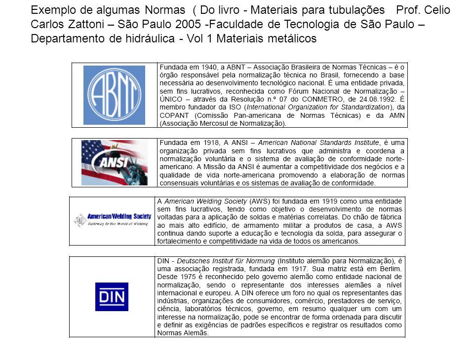 Exemplo de algumas Normas ( Do livro - Materiais para tubulações Prof. Celio Carlos Zattoni – São Paulo 2005 -Faculdade de Tecnologia de São Paulo – D