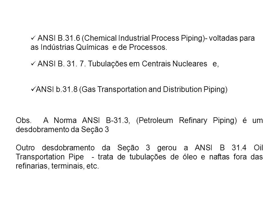 ANSI B. 31. 7. Tubulações em Centrais Nucleares e, ANSI b.31.8 (Gas Transportation and Distribution Piping) ANSI B.31.6 (Chemical Industrial Process P