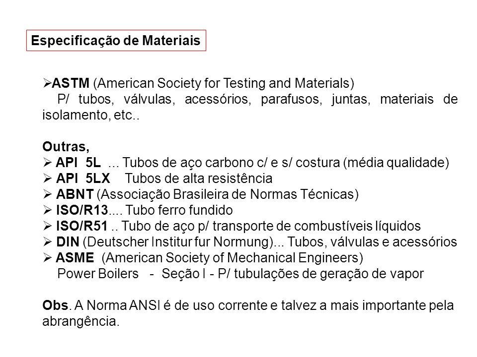 ASTM (American Society for Testing and Materials) P/ tubos, válvulas, acessórios, parafusos, juntas, materiais de isolamento, etc.. Outras, API 5L...