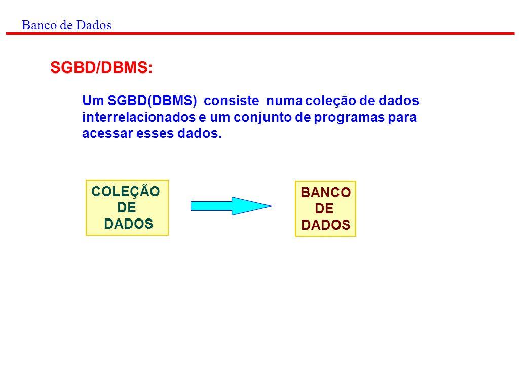 Banco de Dados SGBD/DBMS: Um SGBD(DBMS) consiste numa coleção de dados interrelacionados e um conjunto de programas para acessar esses dados.