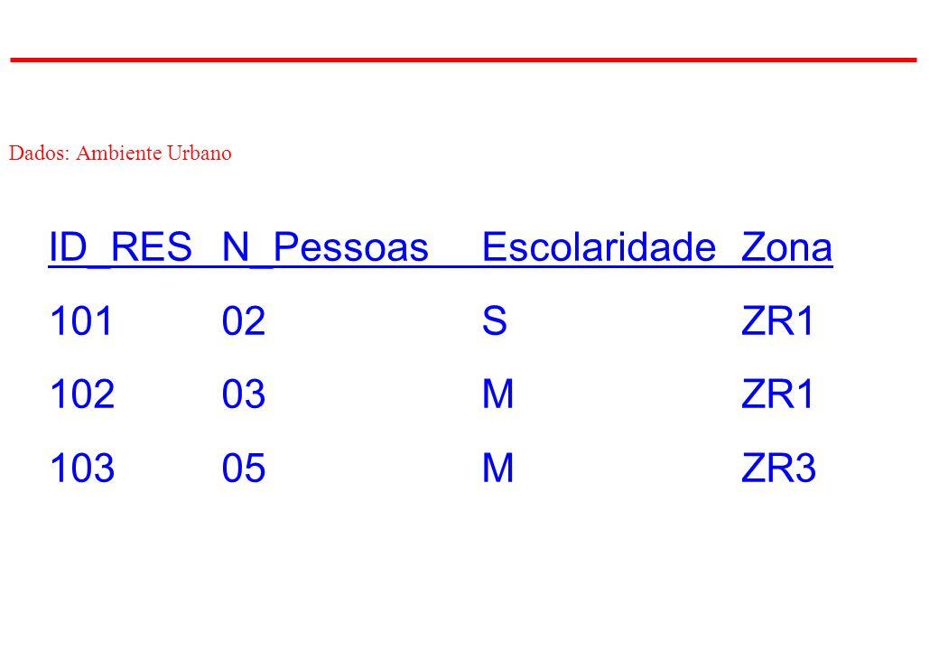 Dados: Ambiente Urbano ID_RESN_PessoasEscolaridadeZona 10102SZR1 10203MZR1 10305MZR3