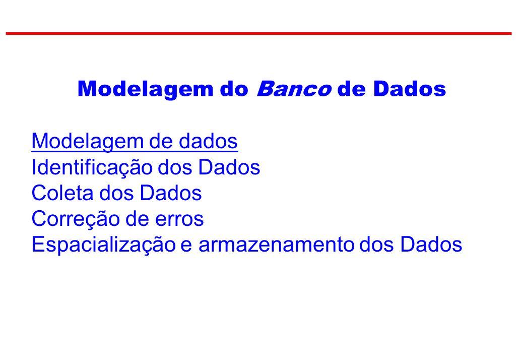Modelagem do Banco de Dados Modelagem de dados Identificação dos Dados Coleta dos Dados Correção de erros Espacialização e armazenamento dos Dados