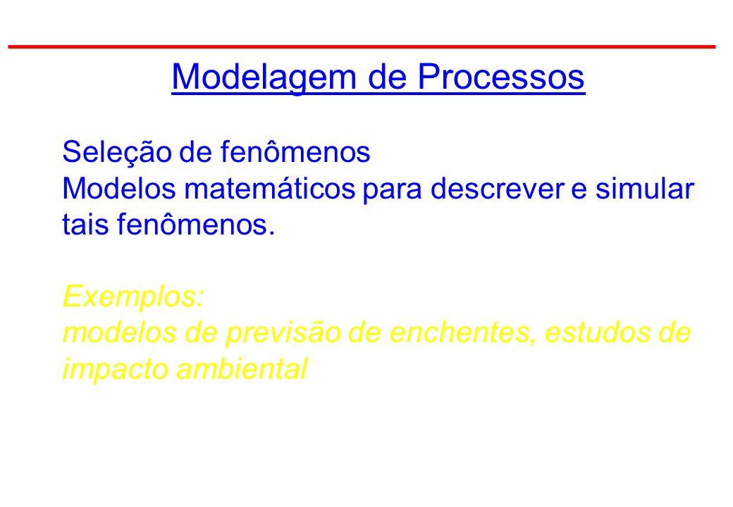 Modelagem de Processos Seleção de fenômenos Modelos matemáticos para descrever e simular tais fenômenos.