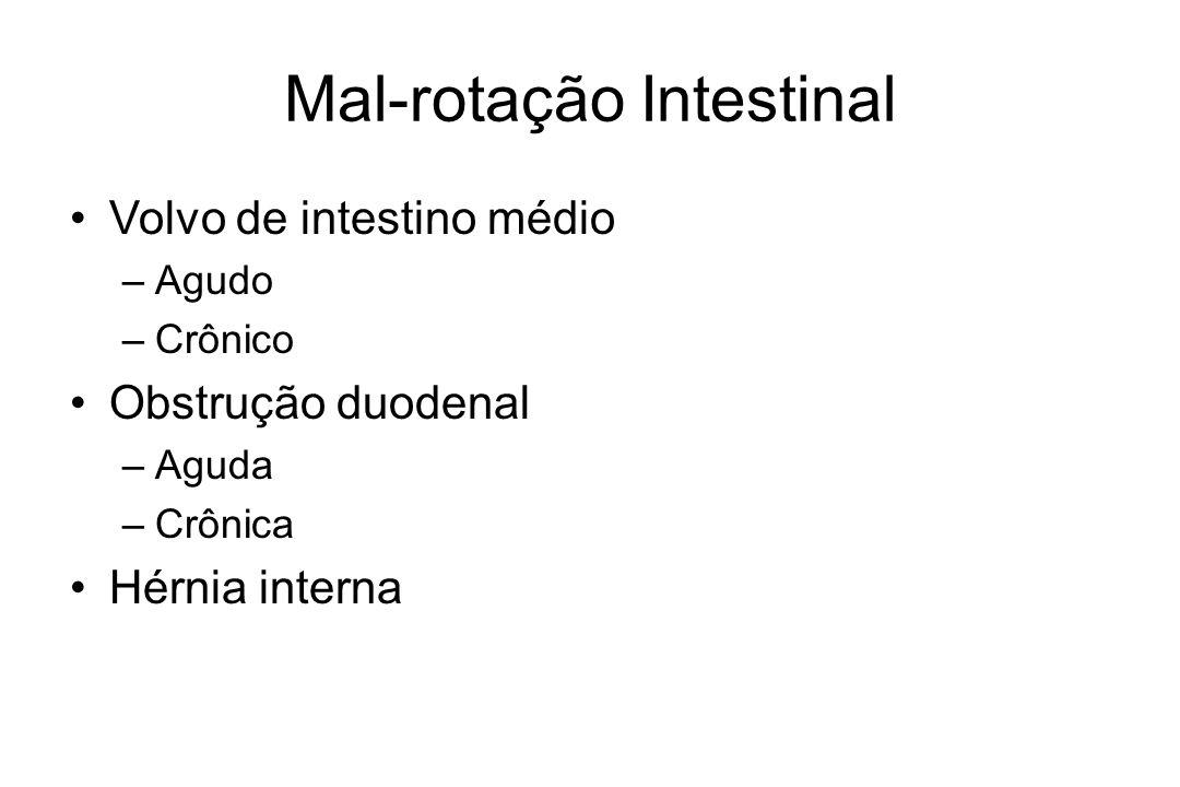 Mal-rotação Intestinal Volvo de intestino médio –Agudo –Crônico Obstrução duodenal –Aguda –Crônica Hérnia interna