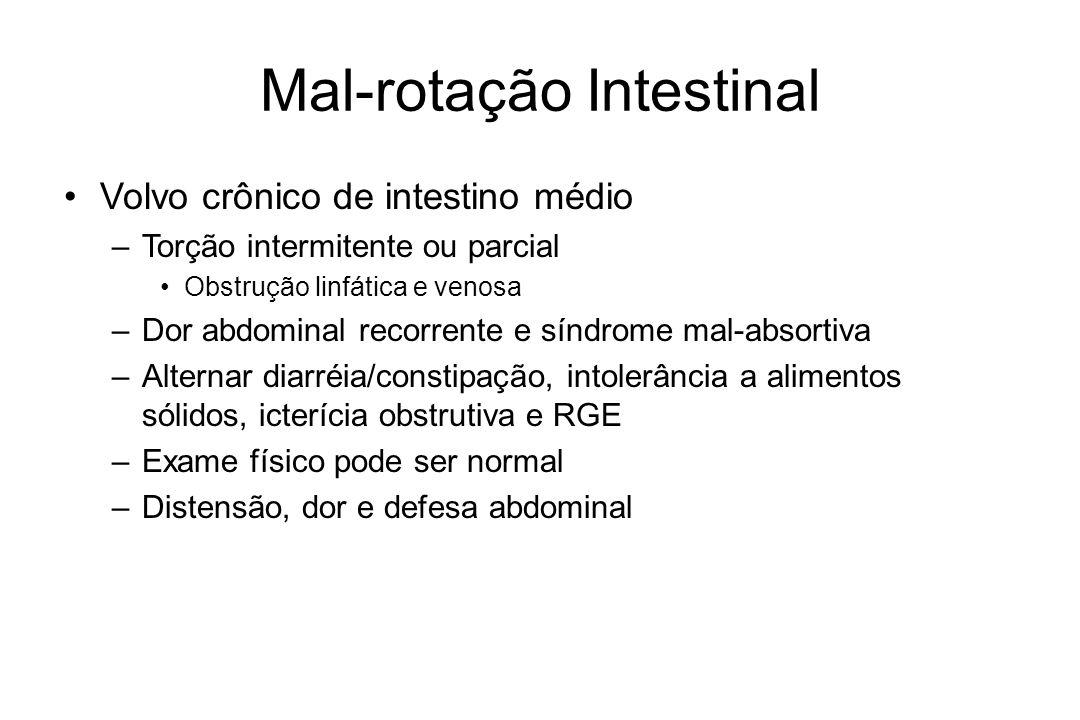 Mal-rotação Intestinal Volvo crônico de intestino médio –Torção intermitente ou parcial Obstrução linfática e venosa –Dor abdominal recorrente e síndr