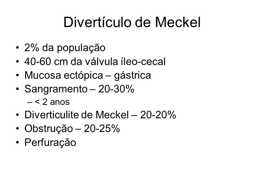 Divertículo de Meckel 2% da população 40-60 cm da válvula íleo-cecal Mucosa ectópica – gástrica Sangramento – 20-30% –< 2 anos Diverticulite de Meckel