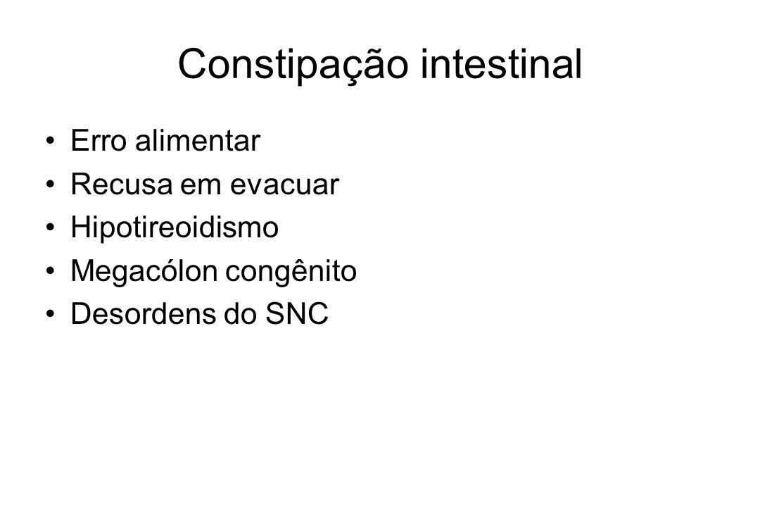 Constipação intestinal Erro alimentar Recusa em evacuar Hipotireoidismo Megacólon congênito Desordens do SNC