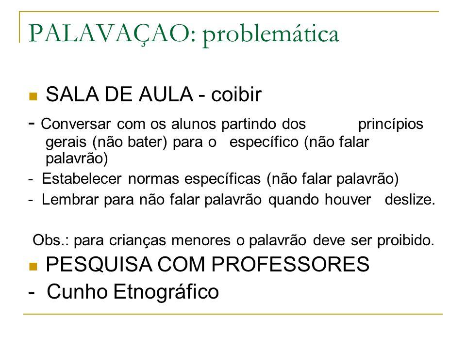 PALAVAÇAO: problemática SALA DE AULA - coibir - Conversar com os alunos partindo dos princípios gerais (não bater) para o específico (não falar palavr