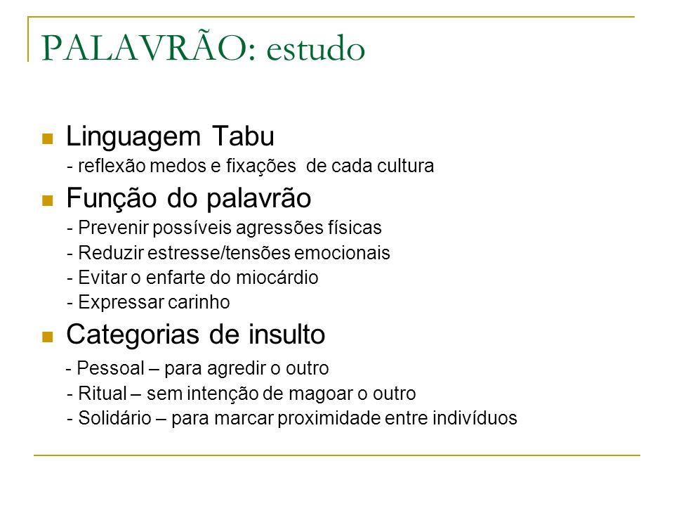 PALAVRÃO: estudo Linguagem Tabu - reflexão medos e fixações de cada cultura Função do palavrão - Prevenir possíveis agressões físicas - Reduzir estres