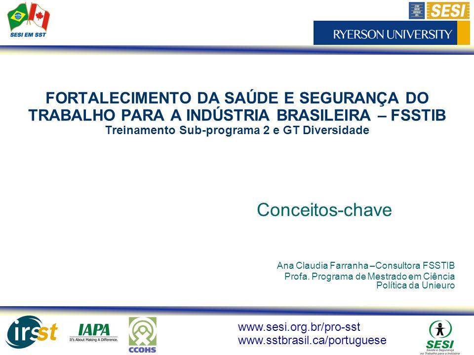 www.sesi.org.br/pro-sst www.sstbrasil.ca/portuguese FORTALECIMENTO DA SAÚDE E SEGURANÇA DO TRABALHO PARA A INDÚSTRIA BRASILEIRA – FSSTIB Treinamento S