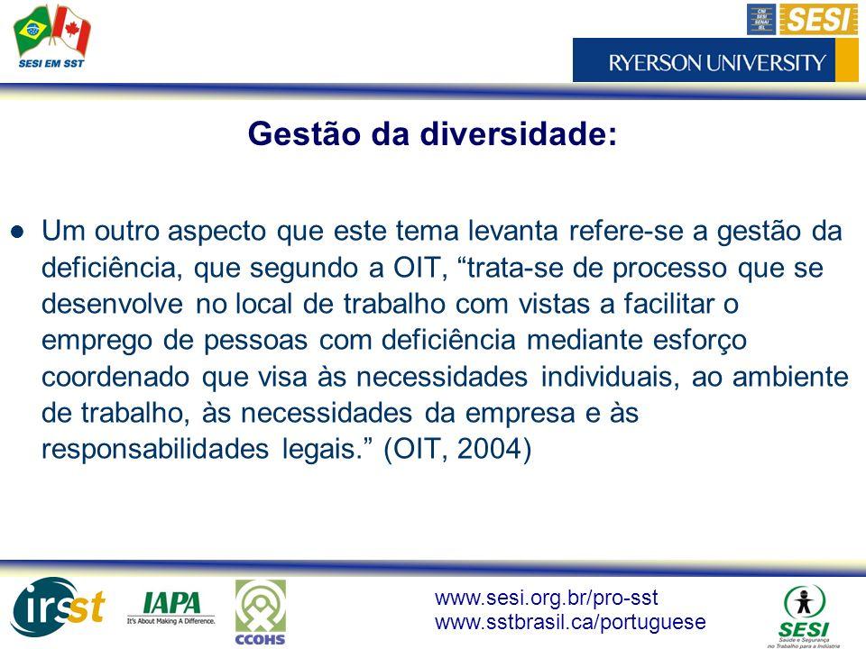 www.sesi.org.br/pro-sst www.sstbrasil.ca/portuguese Um outro aspecto que este tema levanta refere-se a gestão da deficiência, que segundo a OIT, trata