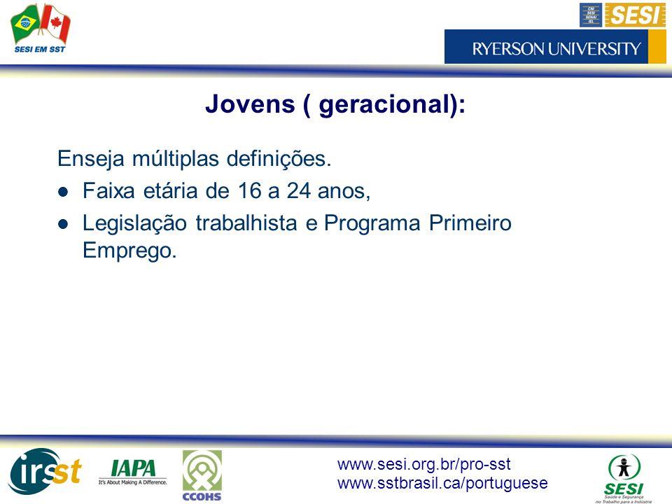 www.sesi.org.br/pro-sst www.sstbrasil.ca/portuguese Enseja múltiplas definições. Faixa etária de 16 a 24 anos, Legislação trabalhista e Programa Prime