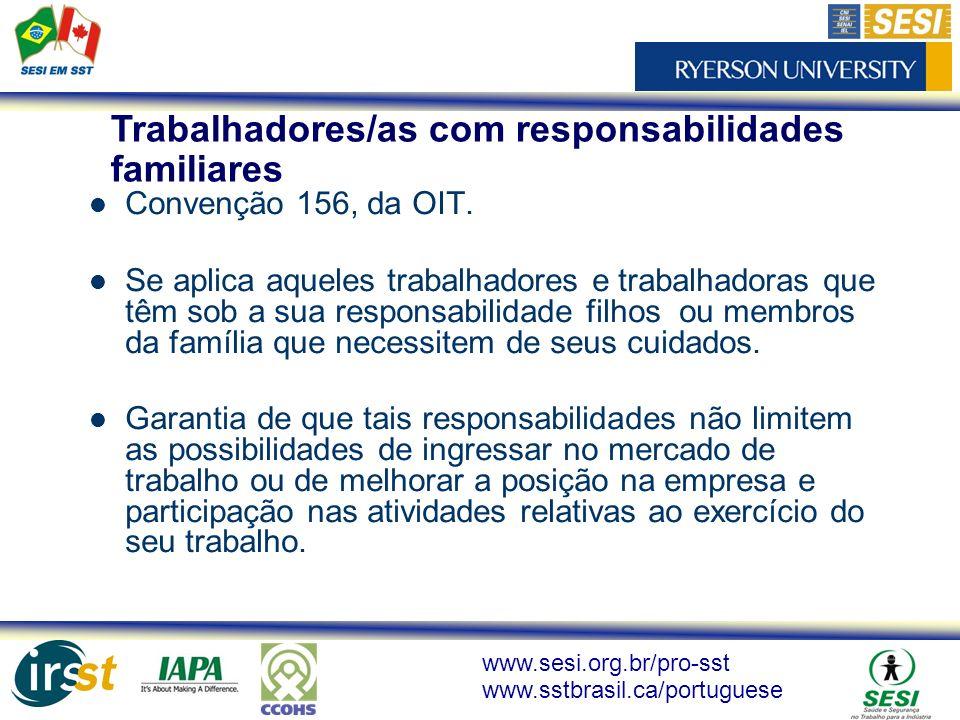 www.sesi.org.br/pro-sst www.sstbrasil.ca/portuguese Convenção 156, da OIT. Se aplica aqueles trabalhadores e trabalhadoras que têm sob a sua responsab