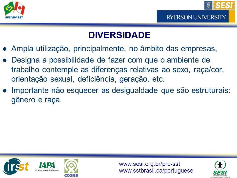 www.sesi.org.br/pro-sst www.sstbrasil.ca/portuguese DIVERSIDADE Ampla utilização, principalmente, no âmbito das empresas, Designa a possibilidade de f