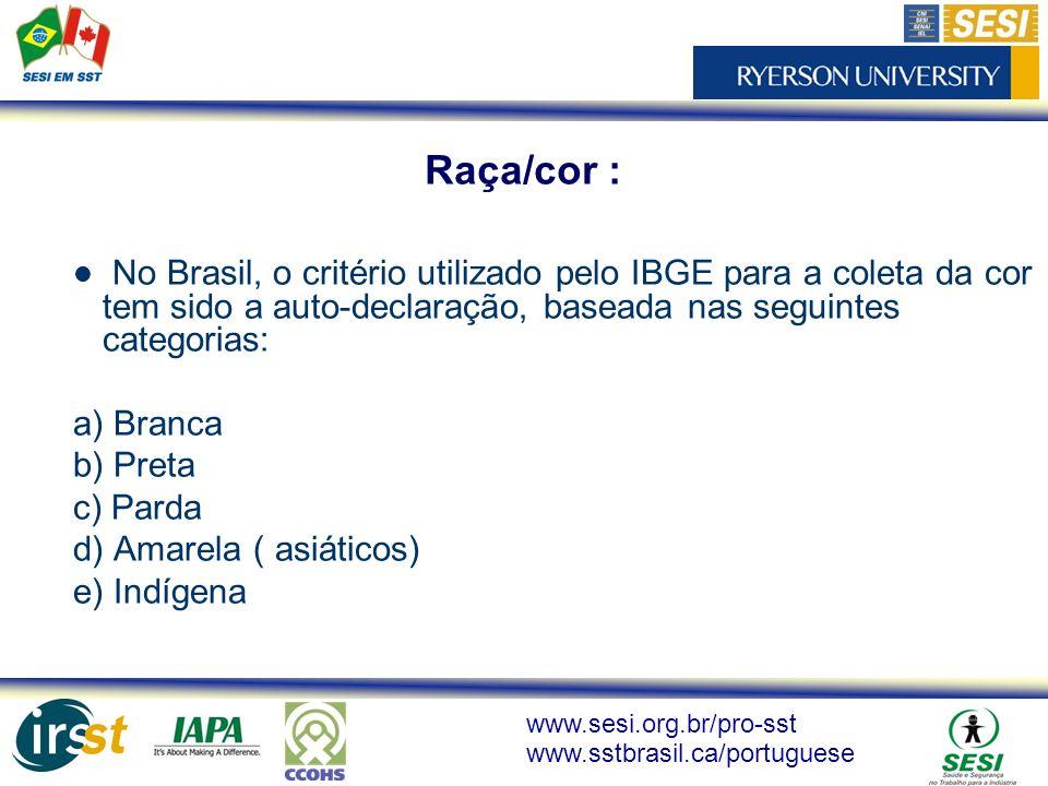 www.sesi.org.br/pro-sst www.sstbrasil.ca/portuguese No Brasil, o critério utilizado pelo IBGE para a coleta da cor tem sido a auto-declaração, baseada