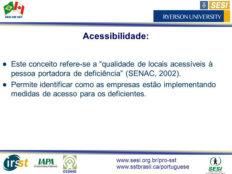 www.sesi.org.br/pro-sst www.sstbrasil.ca/portuguese Este conceito refere-se a qualidade de locais acessíveis à pessoa portadora de deficiência (SENAC,
