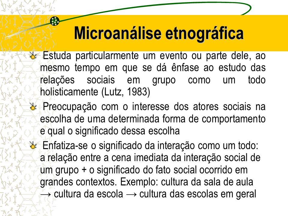 Microanálise etnográfica Estuda particularmente um evento ou parte dele, ao mesmo tempo em que se dá ênfase ao estudo das relações sociais em grupo co