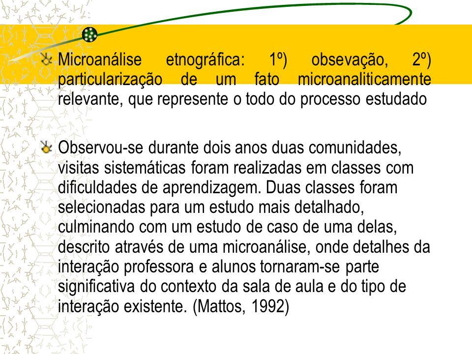 Microanálise etnográfica: 1º) obsevação, 2º) particularização de um fato microanaliticamente relevante, que represente o todo do processo estudado Obs