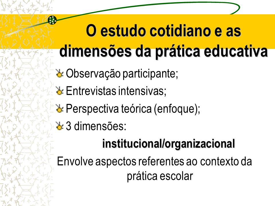 O estudo cotidiano e as dimensões da prática educativa Observação participante; Entrevistas intensivas; Perspectiva teórica (enfoque); 3 dimensões:ins