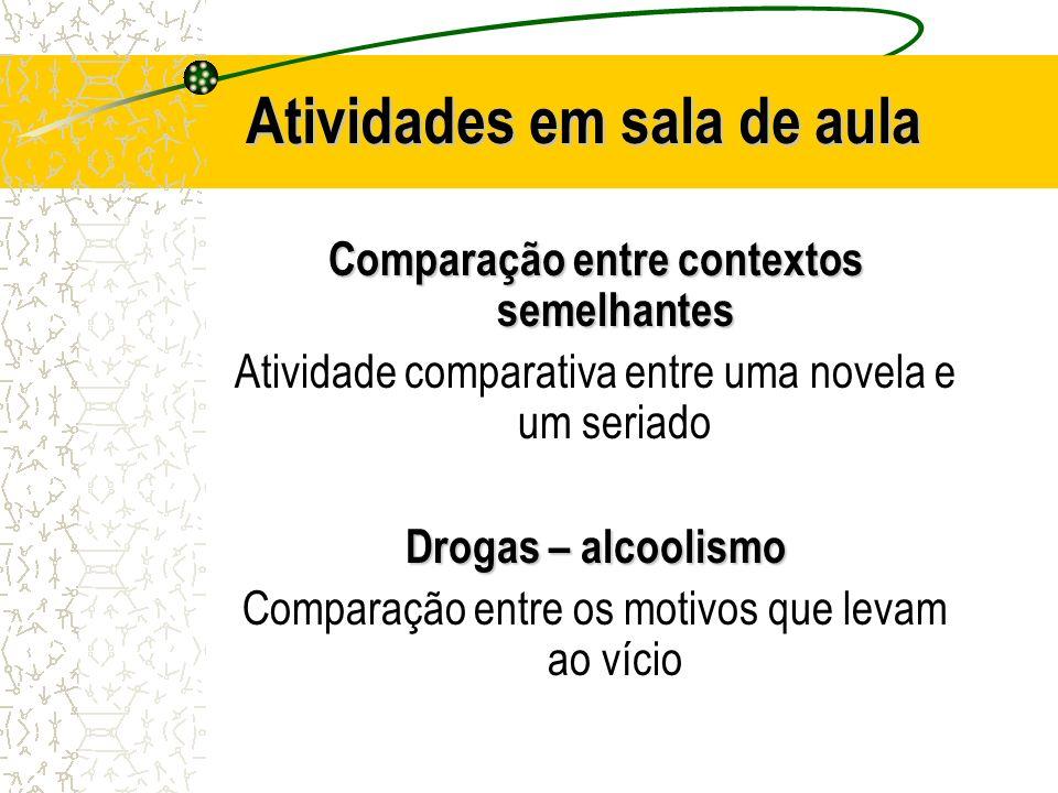 Atividades em sala de aula Comparação entre contextos semelhantes Atividade comparativa entre uma novela e um seriado Drogas – alcoolismo Comparação e