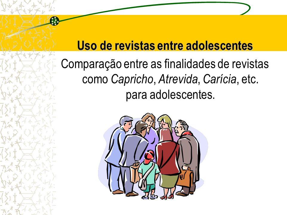 Uso de revistas entre adolescentes Comparação entre as finalidades de revistas como Capricho, Atrevida, Carícia, etc. para adolescentes.
