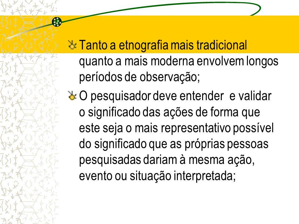 Significado de etnografia A etnografia assume o seu significado a partir do interacionismo simbólico; Interacionismo simbólico: uma das principais escolas de pensamento da sociologia, caracteriza-se por incorporar a REFLEXIVIDADE na análise da ação; Significado da etnografia aplicada à pesquisa social e educacional distinção entre etnologia e etnografia;