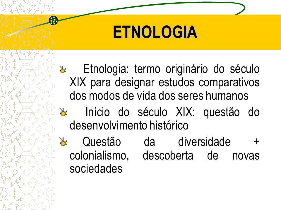 Desse contexto emerge o interesse por estudos comparativos; Etnologia – primeiramente em estudos antropológicos ingleses, 50-60 anos antes da etnografia;