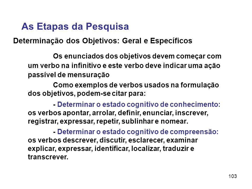 103 Determinação dos Objetivos: Geral e Específicos Os enunciados dos objetivos devem começar com um verbo na infinitivo e este verbo deve indicar uma