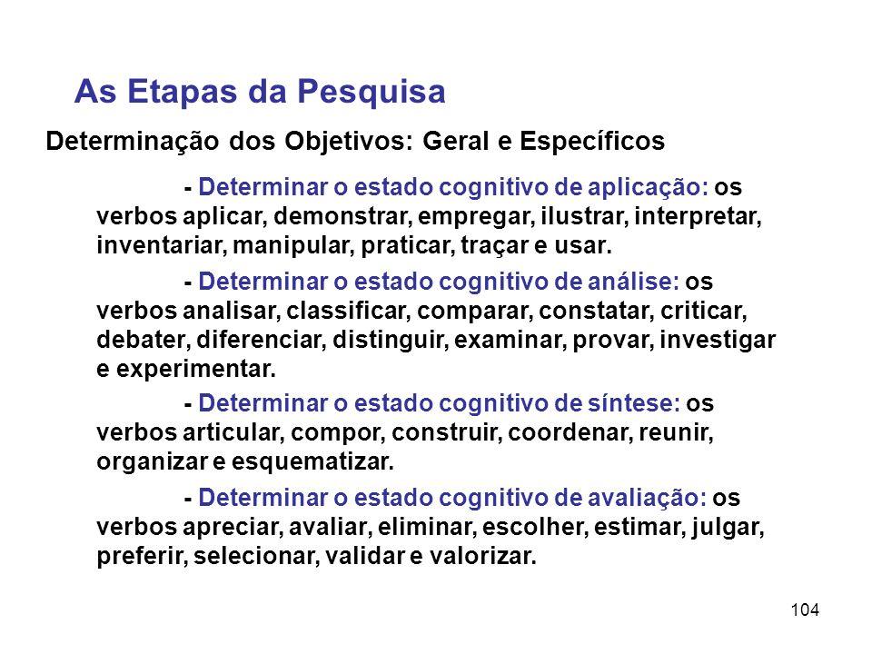 104 Determinação dos Objetivos: Geral e Específicos As Etapas da Pesquisa - Determinar o estado cognitivo de aplicação: os verbos aplicar, demonstrar,