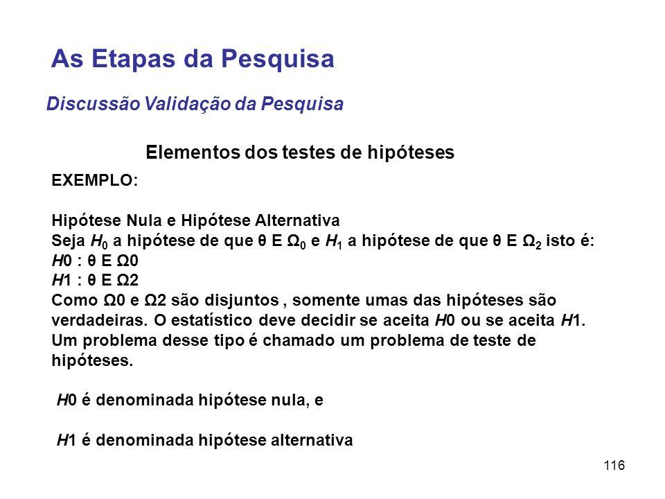 116 EXEMPLO: Hipótese Nula e Hipótese Alternativa Seja H 0 a hipótese de que θ E Ω 0 e H 1 a hipótese de que θ E Ω 2 isto é: H0 : θ E Ω0 H1 : θ E Ω2 C