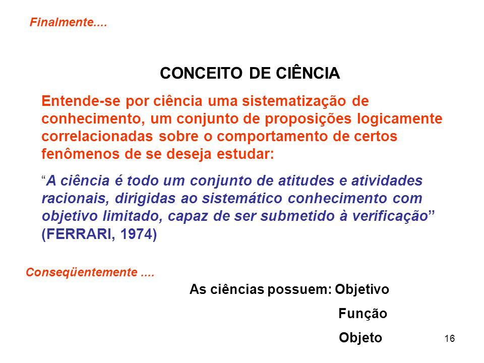 16 Finalmente.... CONCEITO DE CIÊNCIA Entende-se por ciência uma sistematização de conhecimento, um conjunto de proposições logicamente correlacionada