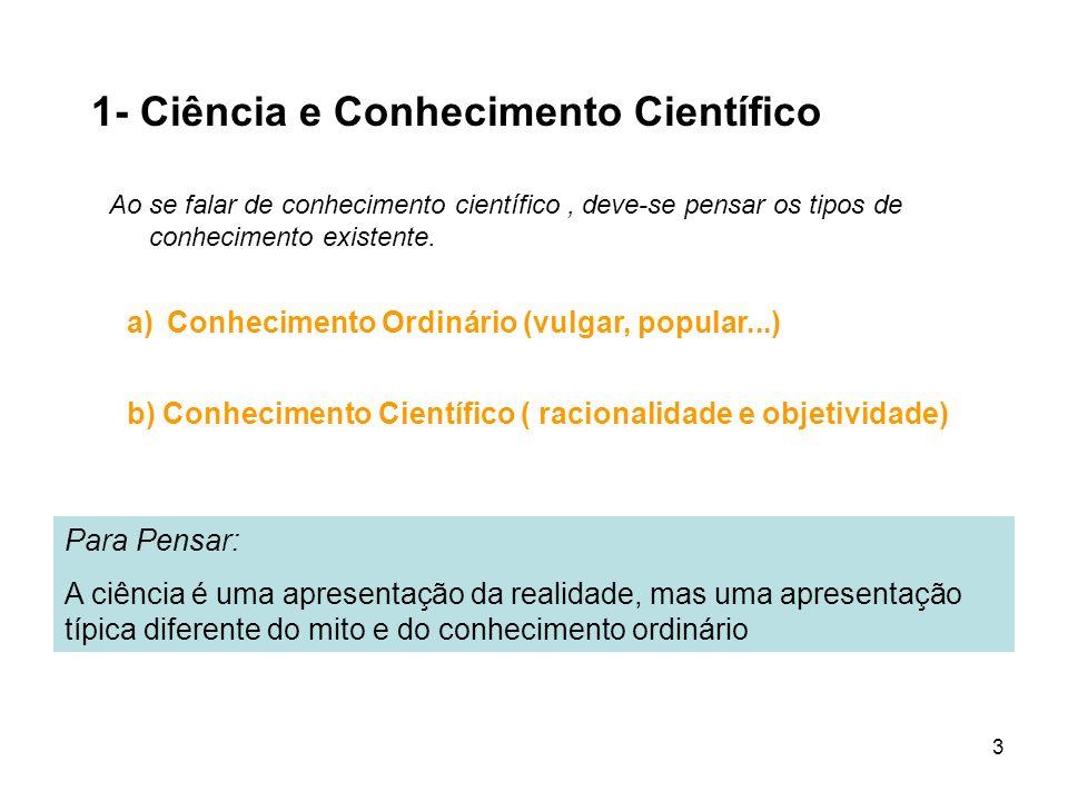 3 1- Ciência e Conhecimento Científico Ao se falar de conhecimento científico, deve-se pensar os tipos de conhecimento existente. Para Pensar: A ciênc