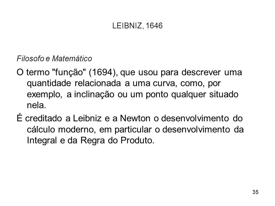35 LEIBNIZ, 1646 Filosofo e Matemático O termo