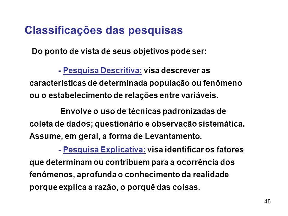 45 Classificações das pesquisas Do ponto de vista de seus objetivos pode ser: - Pesquisa Descritiva: visa descrever as características de determinada