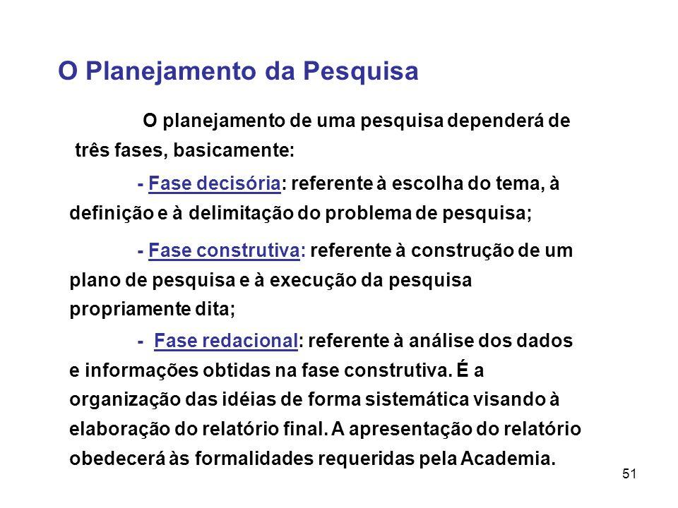 51 O Planejamento da Pesquisa O planejamento de uma pesquisa dependerá de três fases, basicamente: - Fase decisória: referente à escolha do tema, à de