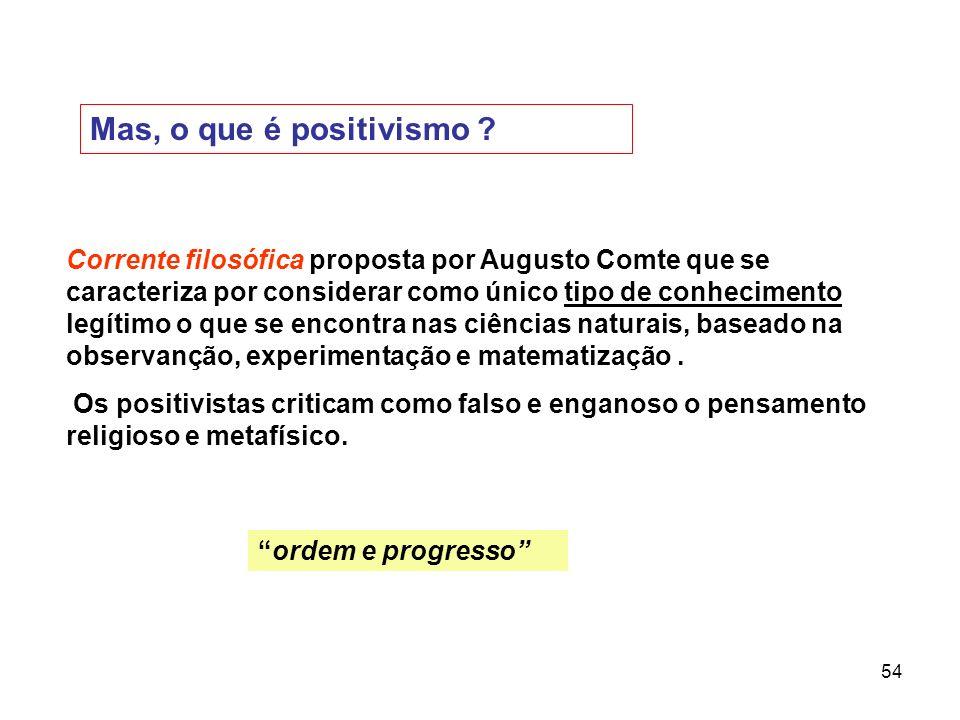 54 Mas, o que é positivismo ? Corrente filosófica proposta por Augusto Comte que se caracteriza por considerar como único tipo de conhecimento legítim