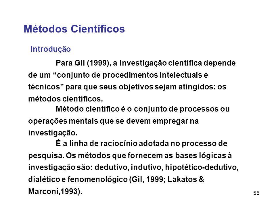 55 Métodos Científicos Introdução Para Gil (1999), a investigação científica depende de um conjunto de procedimentos intelectuais e técnicos para que