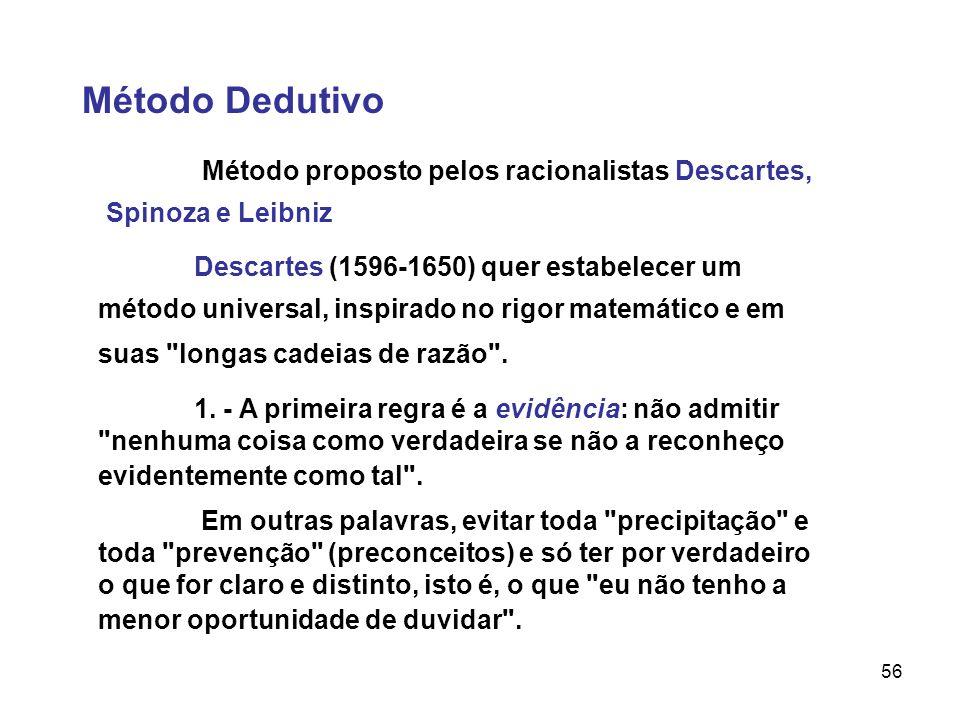 56 Método Dedutivo Método proposto pelos racionalistas Descartes, Spinoza e Leibniz Descartes (1596-1650) quer estabelecer um método universal, inspir