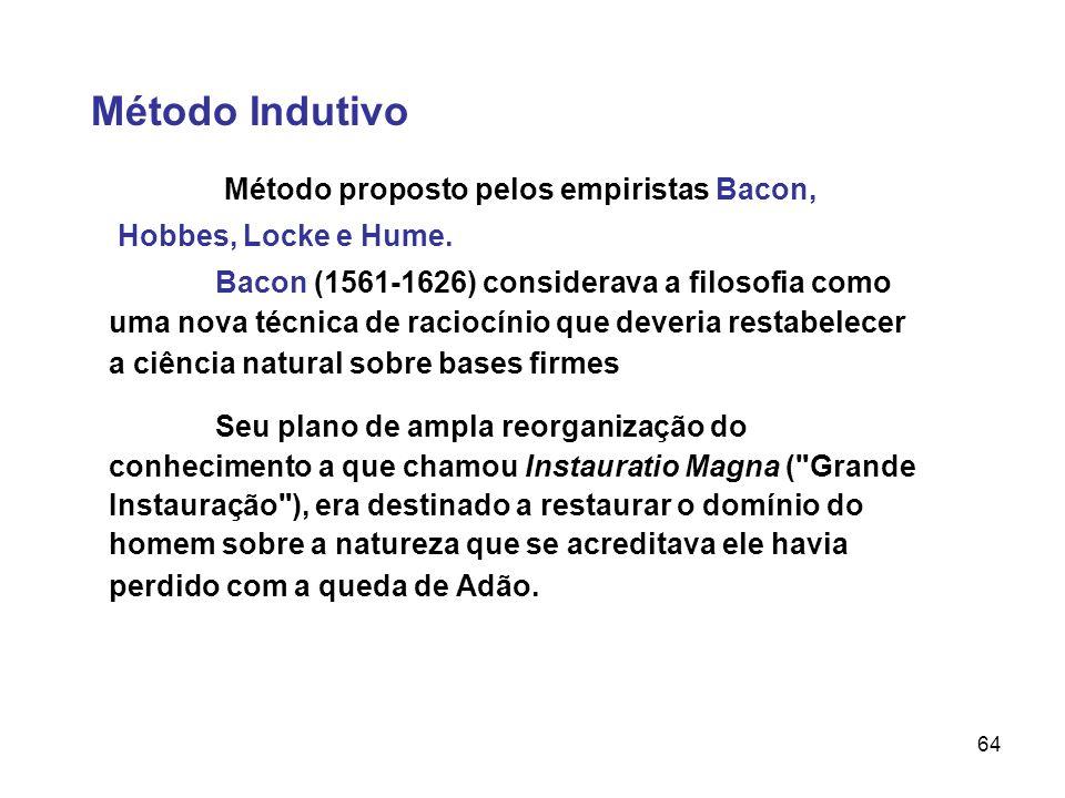 64 Método Indutivo Método proposto pelos empiristas Bacon, Hobbes, Locke e Hume. Bacon (1561-1626) considerava a filosofia como uma nova técnica de ra