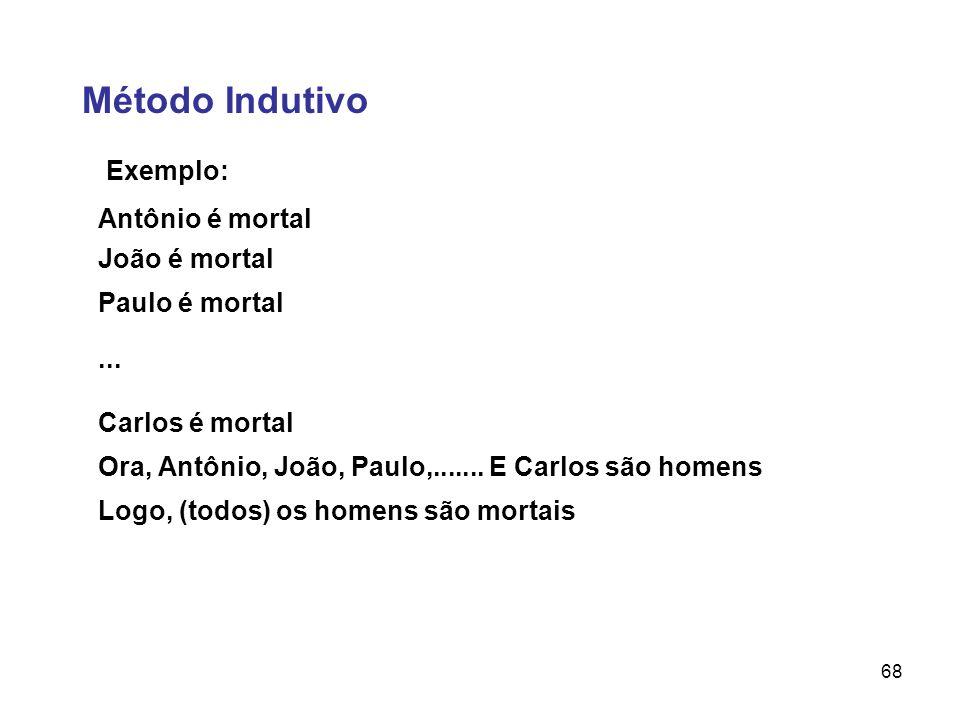 68 Método Indutivo Exemplo: Antônio é mortal João é mortal Paulo é mortal Carlos é mortal Ora, Antônio, João, Paulo,....... E Carlos são homens Logo,