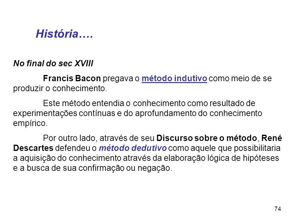 74 No final do sec XVIII Francis Bacon pregava o método indutivo como meio de se produzir o conhecimento. Este método entendia o conhecimento como res