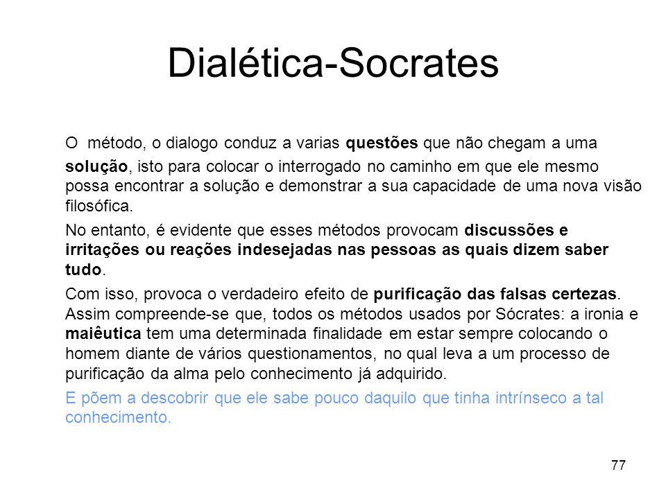 77 Dialética-Socrates O método, o dialogo conduz a varias questões que não chegam a uma solução, isto para colocar o interrogado no caminho em que ele