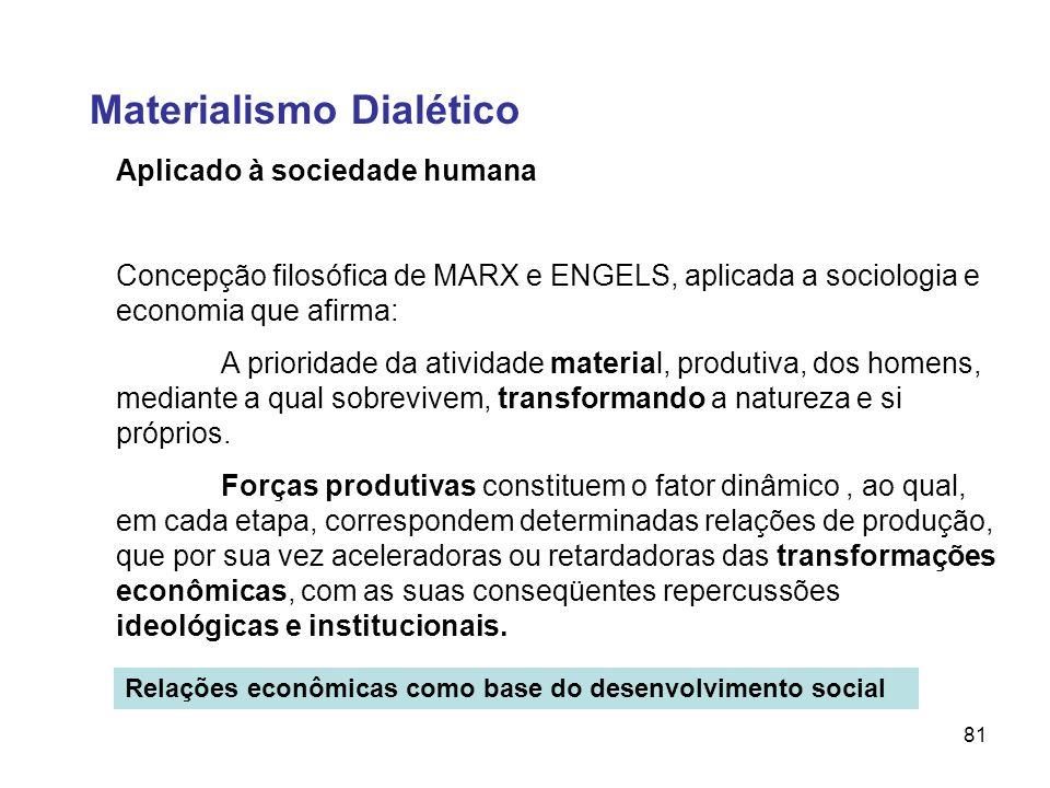 81 Aplicado à sociedade humana Concepção filosófica de MARX e ENGELS, aplicada a sociologia e economia que afirma: A prioridade da atividade material,