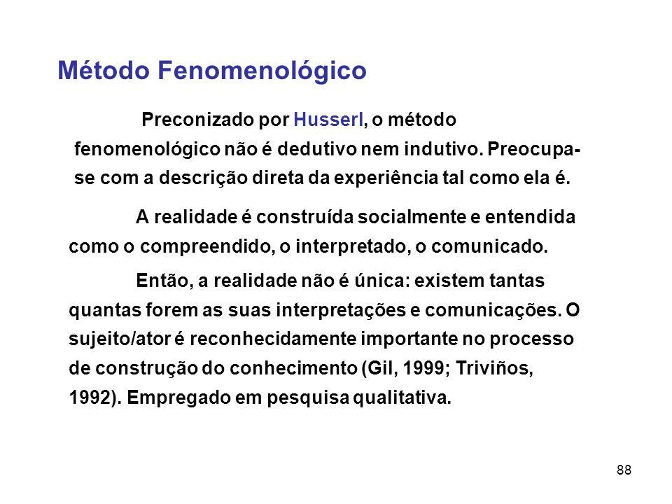 88 Método Fenomenológico Preconizado por Husserl, o método fenomenológico não é dedutivo nem indutivo. Preocupa- se com a descrição direta da experiên