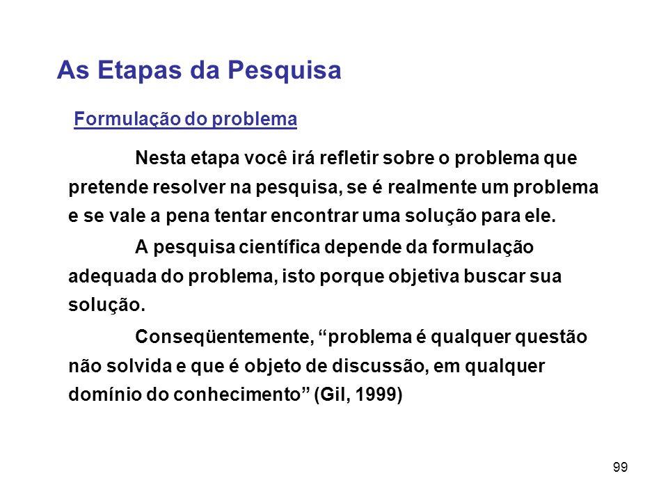 99 As Etapas da Pesquisa Formulação do problema A pesquisa científica depende da formulação adequada do problema, isto porque objetiva buscar sua solu