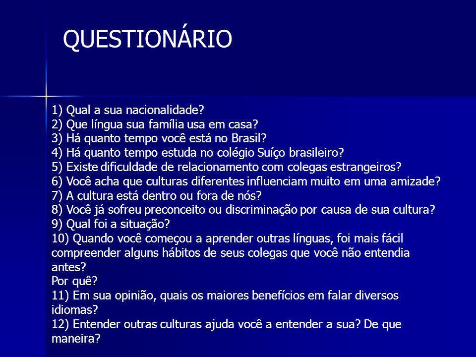1) Qual a sua nacionalidade? 2) Que língua sua família usa em casa? 3) Há quanto tempo você está no Brasil? 4) Há quanto tempo estuda no colégio Suíço