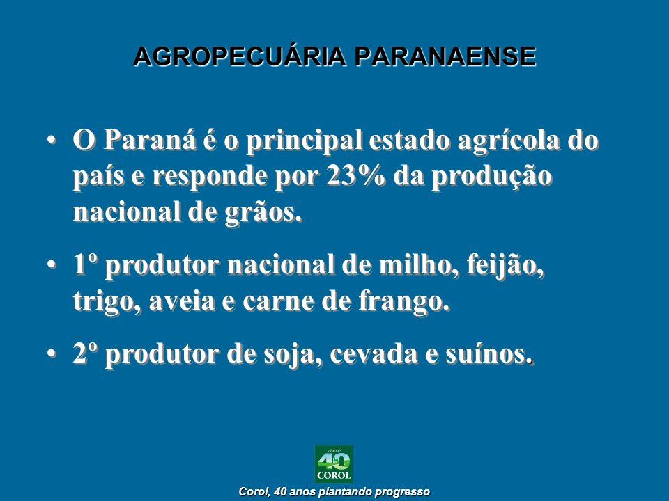 Corol, 40 anos plantando progresso Corol, 40 anos plantando progresso AGROPECUÁRIA PARANAENSE O Paraná é o principal estado agrícola do país e respond